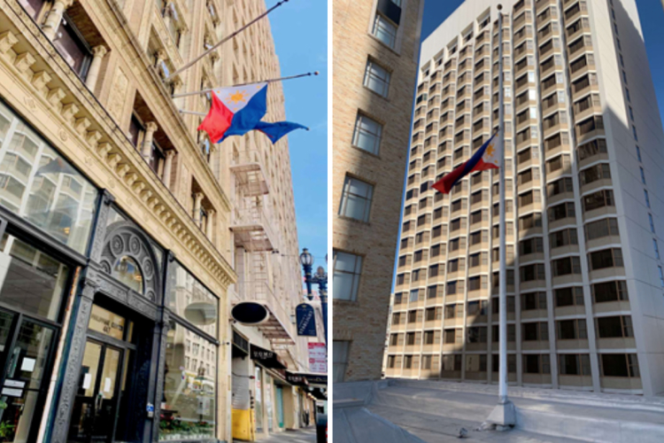 PH CONSULATE GENERAL IN SF FLIES PH FLAG AT HALF-MAST, PAYS TRIBUTE TO PH AMBASSADOR TO LEBANON, FALLEN FILIPINO COVID-19 FRONTLINERS
